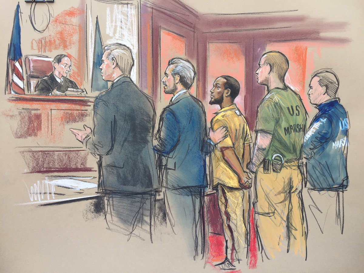 Court sketch of Mohamed Jalloh in court.
