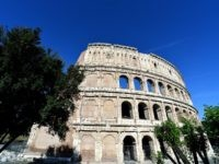 A general view shows the ancient Colosseum on June 28, 2016 in Rome. Diego della Valle, Ceo of luxury shoe brand Tod's, announced on July 1st, 2016 the end of the restoration of the façade of the Colosseum funded by his company. / AFP / ALBERTO PIZZOLI (Photo credit should …