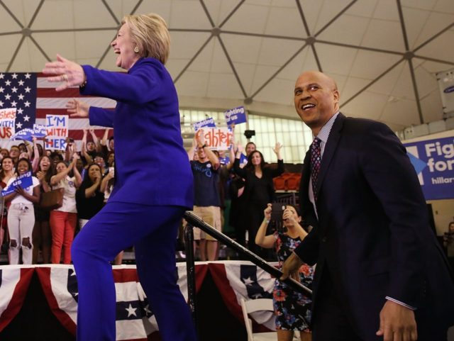 Cory Booker and Hillary Clinton (Spencer Platt / Getty)