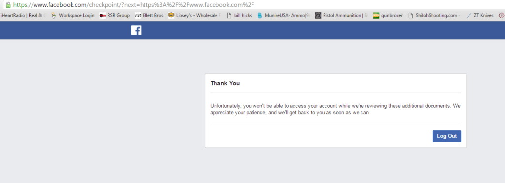 Facebook screen showing lockout.