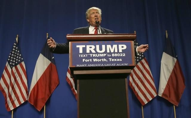 Republican presidential candidate Donald Trump speaks to supporters during a rally in Fort Worth, Texas, Friday, Feb. 26, 2016. (AP Photo/LM Otero)