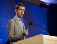 "NEW YORK, NY - SEPTEMBER 23: Jack Dorsey, the Co-Founder and Chairman of Twitter, speaks at a press conference announcing the DNA Foundation's ""Real Men Don't Buy Girls"" campaign against sexual slavery during the annual Clinton Global Initiative (CGI) on September 23, 2010 in New York City. The DNA Foundation was founded by the actors Ashton Kutcher and Demi Moore. The sixth annual meeting of the CGI gathers prominent individuals in politics, business, science, academics, religion and entertainment to discuss global issues such as climate change and the reconstruction of Haiti. The event, founded by Clinton after he left office, is held the same week as the General Assembly at the United Nations, when most world leaders are in New York City.  (Photo by Brian Harkin/Getty Images)"