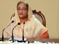 "In this photograph received from the Prime Minister's Office on July 2, 2016, Bangladeshi Prime Minister Sheikh Hasina delivers a television address to the nation almost 24 hours after armed attackers stormed an upscale restaurant in a bloody siege. RESTRICTED TO EDITORIAL USE - MANDATORY CREDIT ""AFP PHOTO / Prime …"
