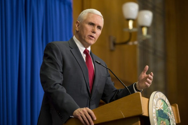 INDIANAPOLIS, IN - MARCH 31: Indiana Gov. Mike Pence speaks during a press conference March 31, 2015 at the Indiana State Library in Indianapolis, Indiana. Pence spoke about the state's controversial Religious Freedom Restoration Act which has been condemned by business leaders and Democrats. (Photo by Aaron P. Bernstein/Getty Images)