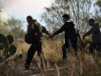Immigrants walk handcuffed after illegally crossing the U.S.-Mexico border and being caught by the U.S. Border Patrol on December 7, 2015 near Rio Grande City, Texas. Border Patrol agents continue to capture hundreds of thousands of undocumented immigrants, even as the total numbers of those crossing has gone down. (Photo …