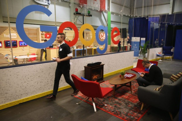 MANCHESTER, IA - FEBRUARY 06: The media filing center for the Republican presidential debate at St. Anselm College includes a living room complete with electric fireplace and sofas and a Google lounge and cafe February 6, 2016 in Manchester, Iowa. Sponsored by ABC News, the Independent Journal Review and Google, …