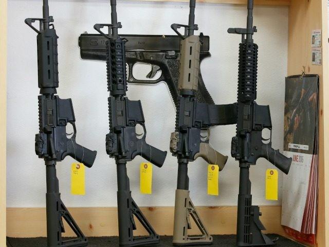 AR-15 semi-automatic guns on June 17, 2016 in Springville, Utah.