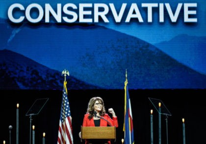 DENVER, CO - JULY 01: Former Alaska Governor and 2008 Republican Party nominee for Vice President Sarah Palin speaks at the 2016 Western Conservative Summit at the Colorado Convention Center on July 1, 2016 in Denver, Colorado. The Summit, being held July 1-3, is expected to attract more than 4,000 …