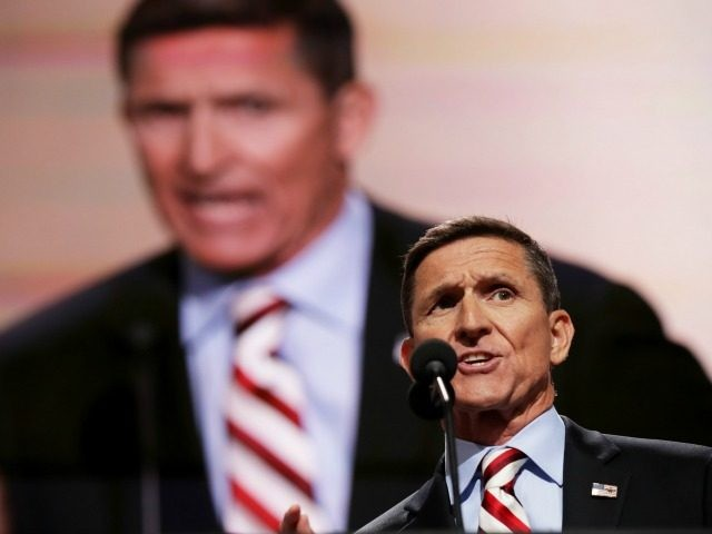Gen. Michael Flynn delivers a speech on the first day of the Republican National Convention on July 18, 2016 at the Quicken Loans Arena in Cleveland, Ohio. An estimated 50,000 people are expected in Cleveland, including hundreds of protesters and members of the media. The four-day Republican National Convention kicks …