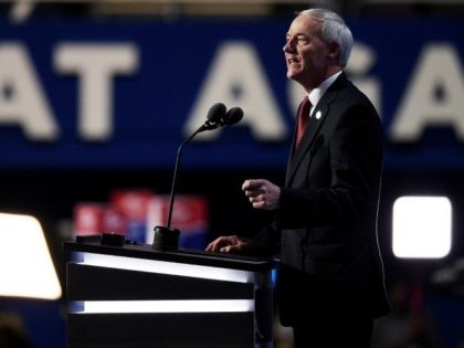 Gov. Asa Hutchinson (R-AR) delivers a speech on the second day of the Republican National Convention on July 19, 2016 at the Quicken Loans Arena in Cleveland, Ohio. Republican presidential candidate Donald Trump received the number of votes needed to secure the party's nomination. An estimated 50,000 people are expected …