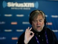 """CLEVELAND, OH - JULY 20: Stephen K. Bannon talks with Peter Schweizer, author of """"Clinton Cash"""" while hosting Brietbart News Daily on SiriusXM Patriot at Quicken Loans Arena on July 20, 2016 in Cleveland, Ohio. (Photo by *** Local Caption *** Stephen K. Bannon"""