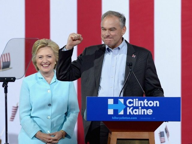 Democratic presidential candidate former Secretary of State Hillary Clinton and Democratic vice presidential candidate U.S. Sen. Tim Kaine (D-VA) attend together a campaign rally at Florida International University Panther Arena on July 23, 2016 in Miami, Florida. Hillary Clinton and Tim Kaine made their first public appearance together a day …