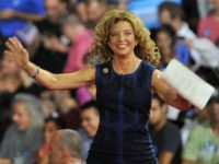 Congresswoman Debbie Wasserman Schultz of Florida arrives on stage during a campaign rally for Democratic presidential candidate Hillary Clinton and running mate Tim Kaine at Florida International University in Miami, Florida, July 23, 2016. Embattled Democratic Party chair Debbie Wasserman Schultz said July 24, 2016 she is resigning, following a leak of emails suggesting an insider attempt to hobble the campaign of Hillary Clinton's rival in the White House primaries Bernie Sanders. / AFP / Gaston De Cardenas (Photo credit should read