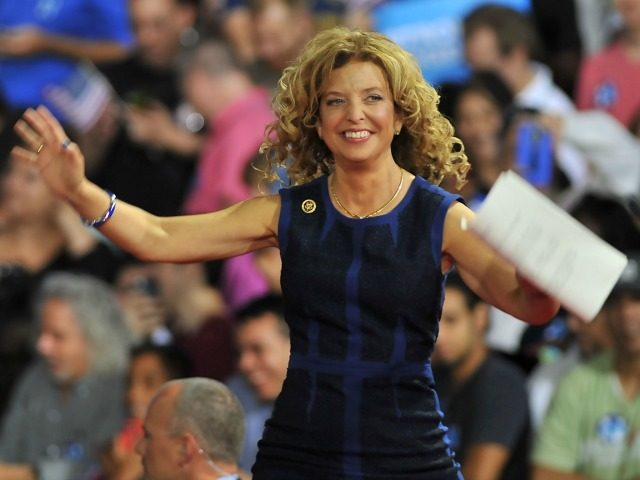 Congresswoman Debbie Wasserman Schultz of Florida arrives on stage during a campaign rally for Democratic presidential candidate Hillary Clinton and running mate Tim Kaine at Florida International University in Miami, Florida, July 23, 2016. Embattled Democratic Party chair Debbie Wasserman Schultz said July 24, 2016 she is resigning, following a …