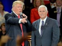 Republican presidential candidate Donald Trump (L) and Republican vice presidential candidate Mike Pence take questions from the audience at the The Hotel Roanoke & Conference Center on July 25, 2016 in Roanoke, Virginia. Trump made a point to address the evangelicals during his visit to the bible belt. Trump is …