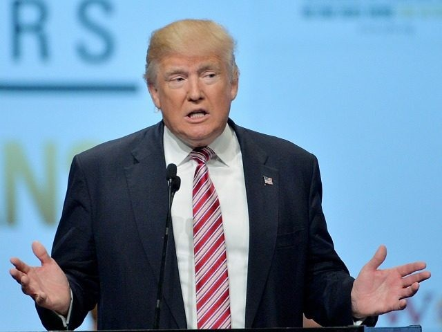 Republican presidential candidate Donald Trump speaks at the 117th National Convention of the Veterans of Foreign Wars of the United States at the Charlotte Convention Center on July 26, 2016 in Charlotte, North Carolina. One day after Democrat presidential candidate Hillary Clinton faced the same group, Trump promised a revision …
