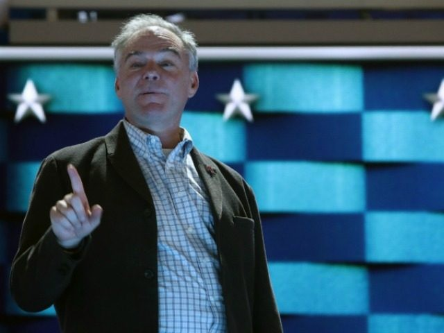 PHILADELPHIA, PA - JULY 27: Democratic Vice Presidential nominee Tim Kaine does a walk on the Democratic National Convention stage in Wells Fargo Center on July 24, 2016 in Philadelphia, Pennsylvania. Senator Kaine will speak tonight on the third day of Democratic Nation Convention. (Photo by