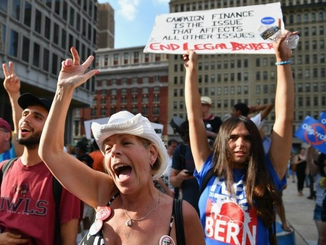 Bernie Sanders supporters gather near City Hall on day three of the Democratic National Convention (DNC) on July 27, 2016 in Philadelphia, Pennsylvania. The convention officially began on Monday and has attracted thousands of protesters, members of the media and Democratic delegates to the City of Brotherly Love. (Photo by
