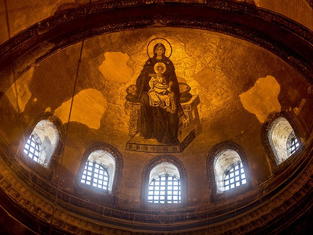 The ceiling of one of the dome's inside the Hagia Sophia depicting the Madonna and Child. (Photo by Chris McGrath/Getty Images)