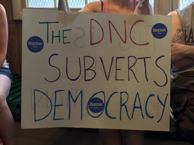 Protest DNC sign (Joel Pollak / Breitbart News)