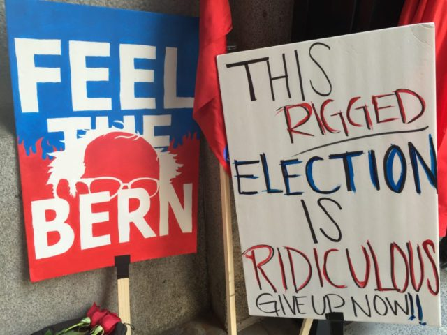 DNC Protest Sign (Joel Pollak / Breitbart News)