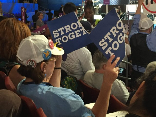 Bernie Sanders protesters inside Democratic Convention (Joel Pollak / Breitbart News)