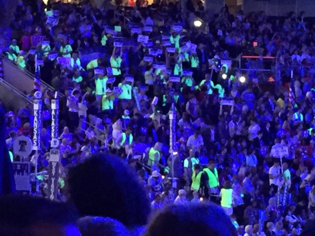 Hillary speech protest (Joel Pollak / Breitbart News)