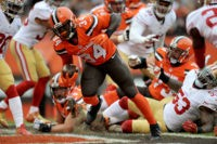 CLEVELAND, OH - DECEMBER 13, 2015: Running back Isaiah Crowell #34 of the Cleveland Browns scores a touchdown during a game against the San Francisco 49ers on December 13, 2015 at FirstEnergy Stadium in Cleveland, Ohio. Cleveland won 24-10. (Photo by Nick Cammett/Diamond Images/Getty Images)