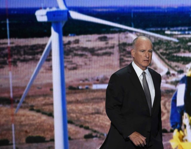 Jerry Brown windmill (Saul Loeb / AFP / Getty)