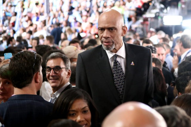 PHILADELPHIA, PA - JULY 28: Retired professional basketball player Kareem Abdul-Jabbar attends the fourth day of the Democratic National Convention at the Wells Fargo Center, July 28, 2016 in Philadelphia, Pennsylvania. Democratic presidential candidate Hillary Clinton received the number of votes needed to secure the party's nomination. An estimated 50,000 …