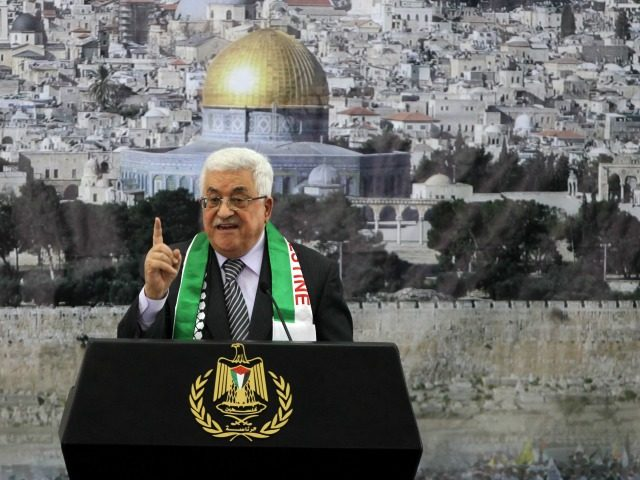 Palestinian President Mahmud Abbas delivers a speech to mark the eighth anniversary of the death of the late leader Yasser Arafat, in the West Bank city of Ramallah on November 11, 2012.