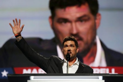 CLEVELAND, OH - JULY 18: Former Navy SEAL Marcus Luttrell delivers a speech on the first day of the Republican National Convention on July 18, 2016 at the Quicken Loans Arena in Cleveland, Ohio. An estimated 50,000 people are expected in Cleveland, including hundreds of protesters and members of the …