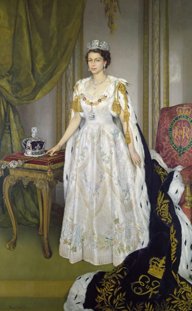 Queen Elizabeth II in Coronation Robes, by Sir Herbert James Gunn, 1954 (Royal Collection Trust)