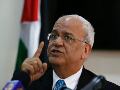 Palestinian chief negotiator, Saeb Erekat, speaks to journalists during a press conference in the West Bank city of Ramallah, on July 4, 2016. / AFP / ABBAS MOMANI (Photo credit should read ABBAS MOMANI/AFP/Getty Images)