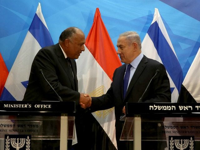 Israeli Prime Minister Benjamin Netanyahu (R) shakes hands with Egyptian Foreign Minister Sameh Shoukry after giving a joint statement prior to their meeting at his Jerusalem office on July 10, 2016. Shoukry met Netanyahu in Jerusalem for talks on reviving peace efforts with the Palestinians, in the first such visit …