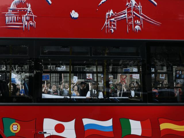 London tourist bus Brexit Farage Boris
