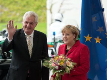 Angela Merkel and Czech President Milos Zeman