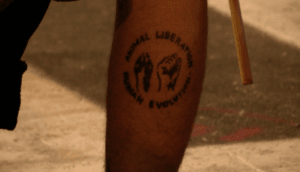 Animal Liberation Front Tattoo on Cleveland Protester