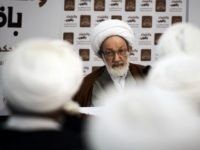 Bahraini top senior Shiite cleric, Sheikh Isa Qassim speaks during a protest against the closing down of a Shiite Muslim clerics' council earlier this week, at a mosque in the capital Manama, on February 2, 2014. A Bahraini court ordered the closure of the Olamaa Islamic Council and the liquidation …