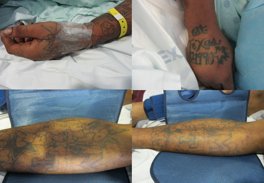 Tattoos from unidentified armed robbery suspect. (Photos: DeSoto Police Department)