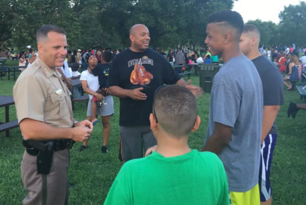 Wichita Police Chief Gordon Ramsay meets with members of the black community during cookout. (Photo: Wichita Police Department)