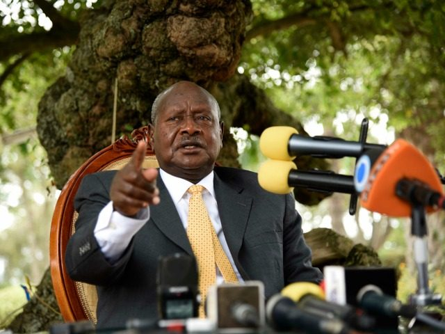 Newly re-elected president Yoweri Museveni, in power since three decades, gestures as he speaks during a press conference at his country house in Rwakitura, about 275 kilometres west of the capital Kampala on February 21, 2016.