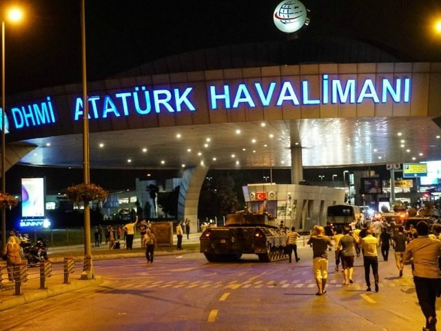 Turkish army's tank enter the Ataturk Airport on July 16, 2016 in Istanbul, Turkey. Istanbul's bridges across the Bosphorus, the strait separating the European and Asian sides of the city, have been closed to traffic. Reports have suggested that a group within Turkey's military have attempted to overthrow the government. …