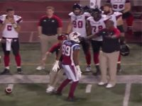Watch: CFL Player Scores TD, Knocks Over Opposing Team's Coach to Start Brawl