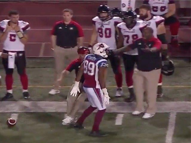 Watch: CFL Player Scores TD, Knocks Over Opposing Team's Coach to Start Brawl