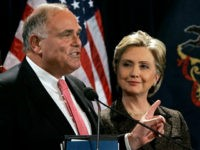 Pennsylvania Gov. Ed Rendell points towards Democratic presidential hopeful, Sen. Hillary Rodham Clinton, D-N.Y., as he endorses her candidacy in Philadelphia, Penn., Wednesday, Jan. 23, 2008. (AP Photo/Elise Amendola)