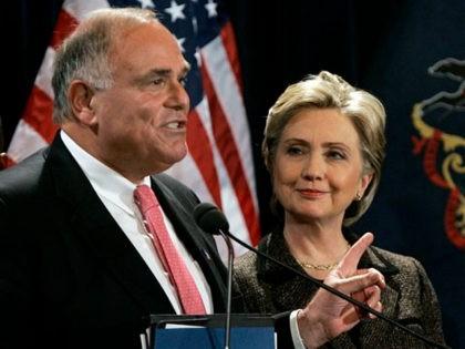 Pennsylvania Gov. Ed Rendell points towards Democratic presidential hopeful, Sen. Hillary Rodham Clinton, D-N.Y., as he endorses her candidacy in Philadelphia, Penn., Wednesday, Jan. 23, 2008. (AP Photo/Elise Amendola)