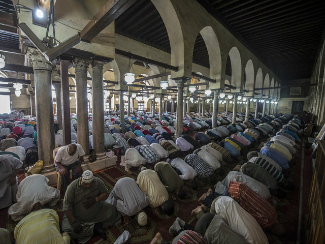 Egyptian men attend the Friday weekly prayer at al-Azhar mosque in the capital Cairo's Islamic quarter, on October 2, 2015. AFP PHOTO / KHALED DESOUKI (Photo credit should read KHALED DESOUKI/AFP/Getty Images)