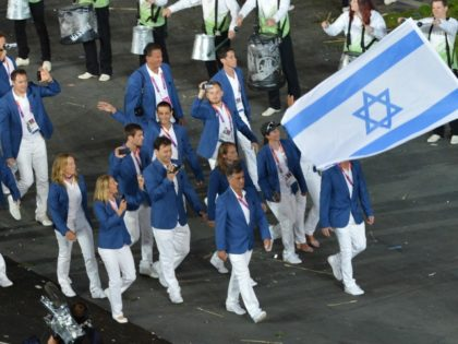 Israel's delegation parades during the opening ceremony of the London 2012 Olympic Games at the Olympic Stadium in London on July 27, 2012. AFP PHOTO / SAEED KHAN (Photo credit should read SAEED KHAN/AFP/GettyImages)