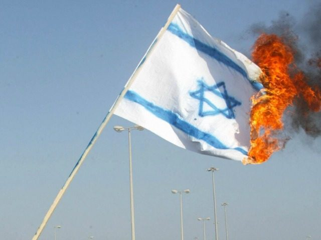 Bahrainis burn an Israeli flag during a demonstration marking 'Jerusalem day' 28 October 2005 in the Bahraini capital, Manama. Two days ago Iran's hardline president Mahmoud Ahmadinejad said that Israel should be 'wiped off the map.' 'As the Imam said, Israel must be wiped off the map,' he said, quoting …